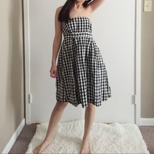 The Limited Gingham Strapless Babydoll Dress.-C6.